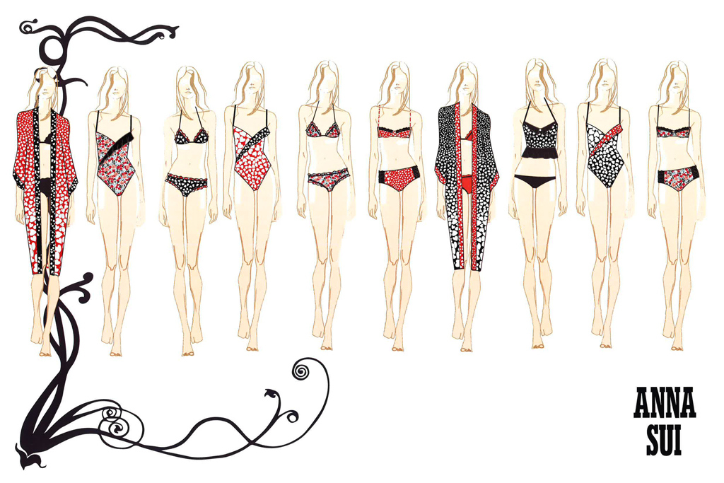 Anna Sui swimwear sketches.