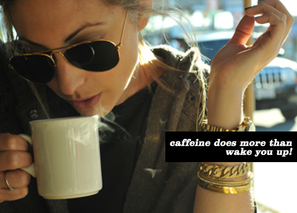 caffeine beauty products, woman drinking coffee, causeandyvette